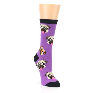 Image of Wisteria Purple Cool Pugs Women's Dress Socks (side-1-front-02)