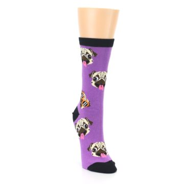Image of Wisteria Purple Cool Pugs Women's Dress Socks (side-1-front-03)