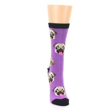 Image of Wisteria Purple Cool Pugs Women's Dress Socks (front-04)
