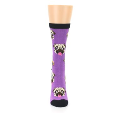 Image of Wisteria Purple Cool Pugs Women's Dress Socks (front-05)