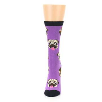 Image of Wisteria Purple Cool Pugs Women's Dress Socks (side-2-front-06)