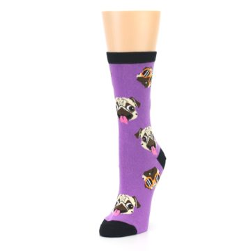Image of Wisteria Purple Cool Pugs Women's Dress Socks (side-2-front-08)