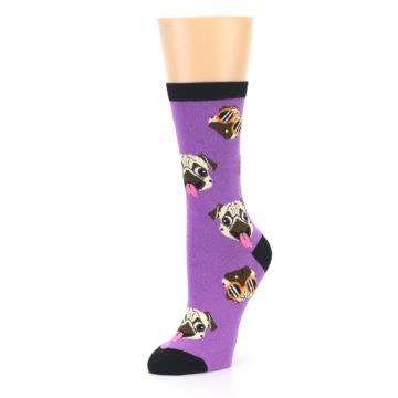 Image of Wisteria Purple Cool Pugs Women's Dress Socks (side-2-09)