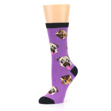 Image of Wisteria Purple Cool Pugs Women's Dress Socks (side-2-10)