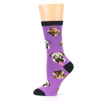Image of Wisteria Purple Cool Pugs Women's Dress Socks (side-2-12)