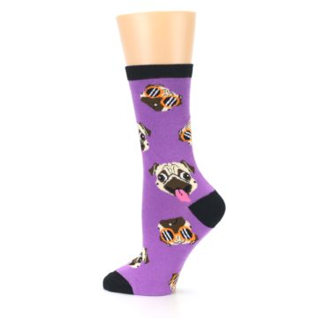 Image of Wisteria Purple Cool Pugs Women's Dress Socks (side-2-13)
