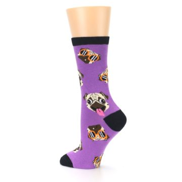 Image of Wisteria Purple Cool Pugs Women's Dress Socks (side-2-back-14)