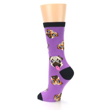 Image of Wisteria Purple Cool Pugs Women's Dress Socks (side-2-back-15)