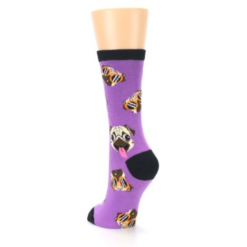 Image of Wisteria Purple Cool Pugs Women's Dress Socks (side-2-back-16)