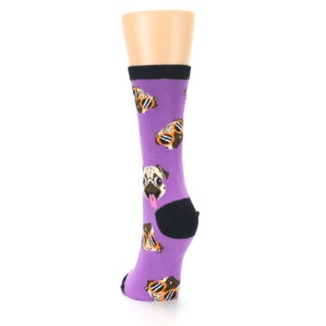 Image of Wisteria Purple Cool Pugs Women's Dress Socks (back-17)
