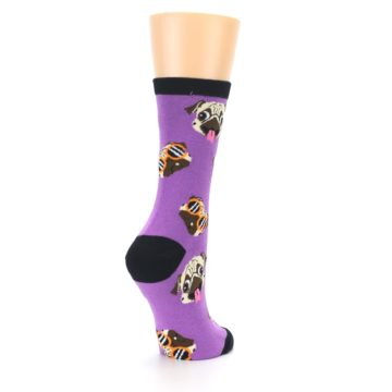 Image of Wisteria Purple Cool Pugs Women's Dress Socks (side-1-back-22)