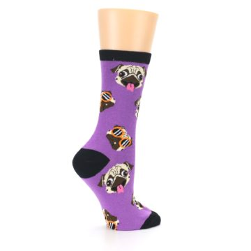Image of Wisteria Purple Cool Pugs Women's Dress Socks (side-1-24)