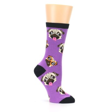 Image of Wisteria Purple Cool Pugs Women's Dress Socks (side-1-26)