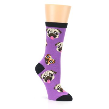 Image of Wisteria Purple Cool Pugs Women's Dress Socks (side-1-27)