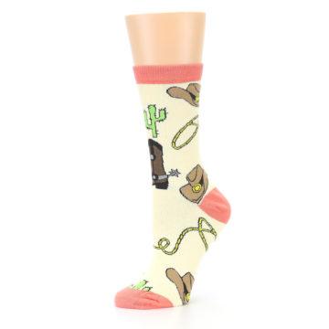 Image of Canary Brown Cowboy Gear Women's Dress Socks (side-2-10)