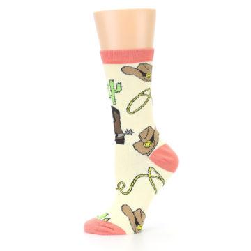 Image of Canary Brown Cowboy Gear Women's Dress Socks (side-2-11)