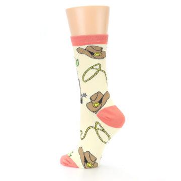 Image of Canary Brown Cowboy Gear Women's Dress Socks (side-2-back-14)