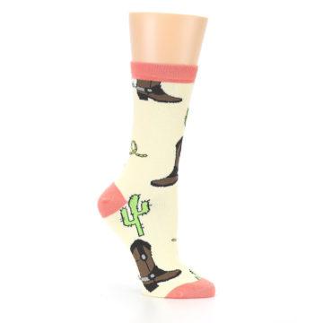 Image of Canary Brown Cowboy Gear Women's Dress Socks (side-1-26)