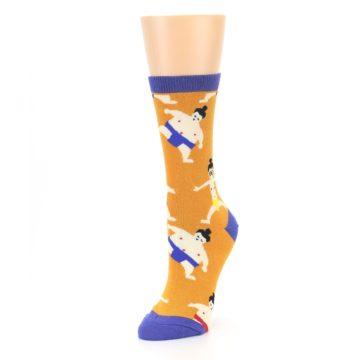 Image of Orange Sumo Wrestlers Women's Dress Socks (side-2-front-08)