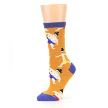 Image of Orange Sumo Wrestlers Women's Dress Socks (side-2-10)