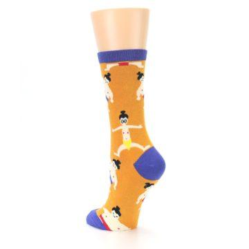 Image of Orange Sumo Wrestlers Women's Dress Socks (side-2-back-15)