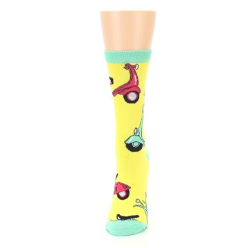Image of Yellow Mint Mopeds Women's Dress Socks (side-2-front-06)