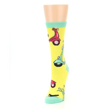 Image of Yellow Mint Mopeds Women's Dress Socks (side-2-front-07)