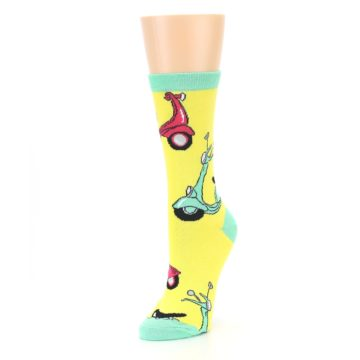Image of Yellow Mint Mopeds Women's Dress Socks (side-2-front-08)