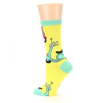 Image of Yellow Mint Mopeds Women's Dress Socks (side-2-13)