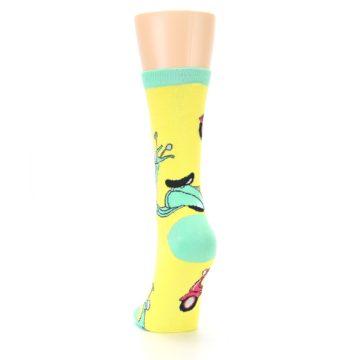 Image of Yellow Mint Mopeds Women's Dress Socks (back-17)