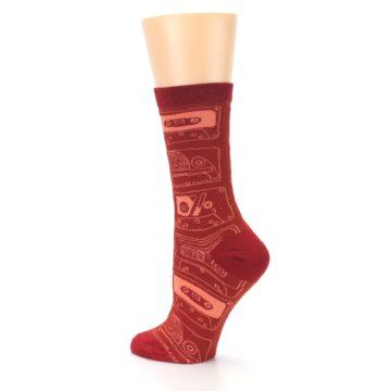 Image of Rust Old School Cassettes Women's Dress Socks (side-2-back-14)