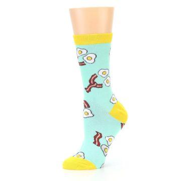 Image of Mint Bacon and Eggs Breakfast Women's Dress Socks (side-2-10)