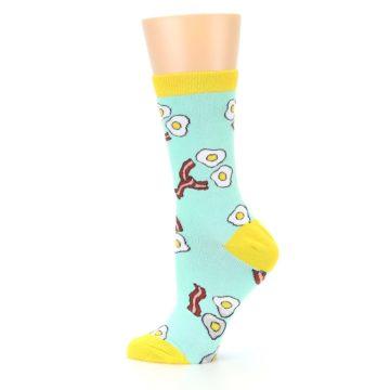 Image of Mint Bacon and Eggs Breakfast Women's Dress Socks (side-2-12)