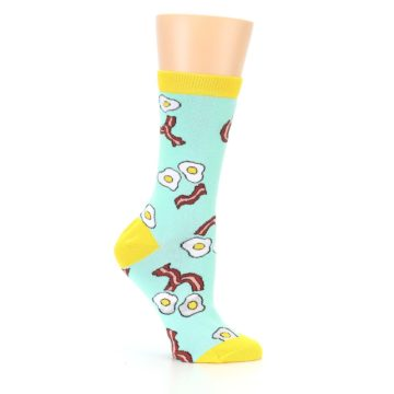 Image of Mint Bacon and Eggs Breakfast Women's Dress Socks (side-1-25)