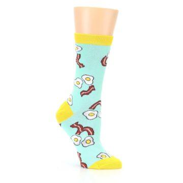 Image of Mint Bacon and Eggs Breakfast Women's Dress Socks (side-1-26)