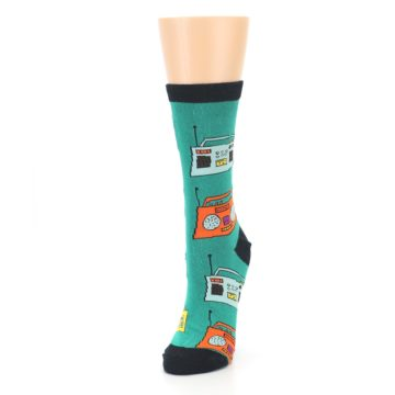 Image of Teal Boombox Radio Women's Dress Socks (side-2-front-07)