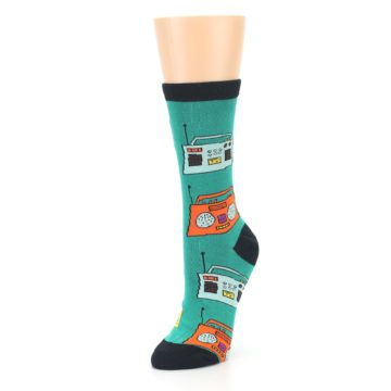 Image of Teal Boombox Radio Women's Dress Socks (side-2-front-08)