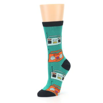 Image of Teal Boombox Radio Women's Dress Socks (side-2-09)