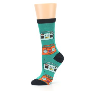 Image of Teal Boombox Radio Women's Dress Socks (side-2-10)