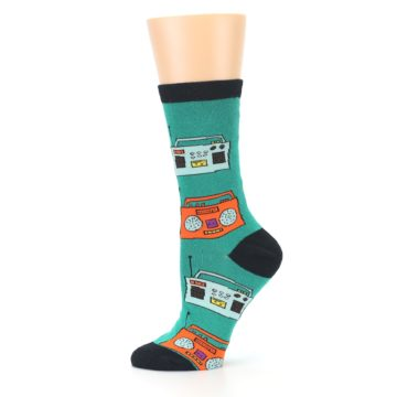 Image of Teal Boombox Radio Women's Dress Socks (side-2-11)