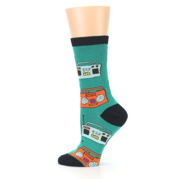 Image of Teal Boombox Radio Women's Dress Socks (side-2-12)