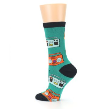Image of Teal Boombox Radio Women's Dress Socks (side-2-13)