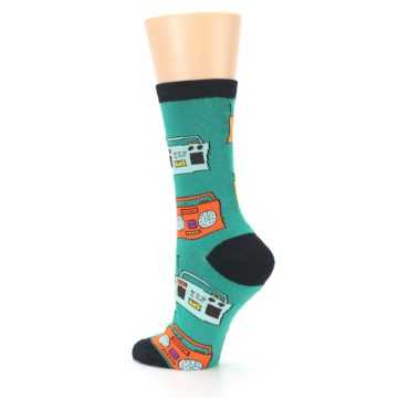 Image of Teal Boombox Radio Women's Dress Socks (side-2-back-14)