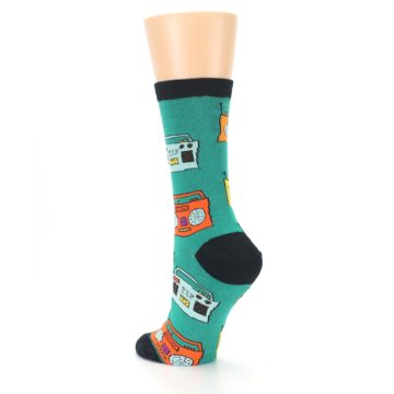 Image of Teal Boombox Radio Women's Dress Socks (side-2-back-15)
