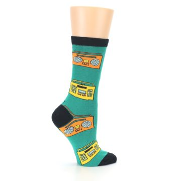 Image of Teal Boombox Radio Women's Dress Socks (side-1-24)