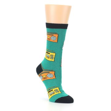 Image of Teal Boombox Radio Women's Dress Socks (side-1-27)