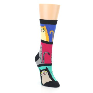 Image of Black Color Block Cats Women's Dress Socks (side-1-front-02)