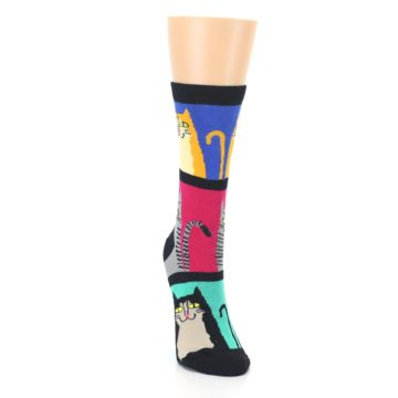 Image of Black Color Block Cats Women's Dress Socks (side-1-front-03)