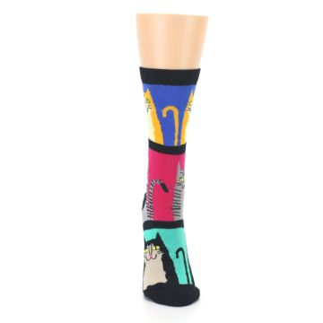 Image of Black Color Block Cats Women's Dress Socks (front-04)