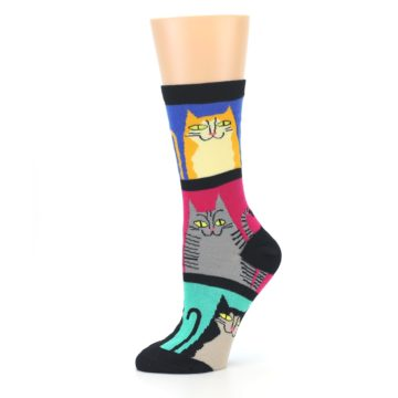 Image of Black Color Block Cats Women's Dress Socks (side-2-10)
